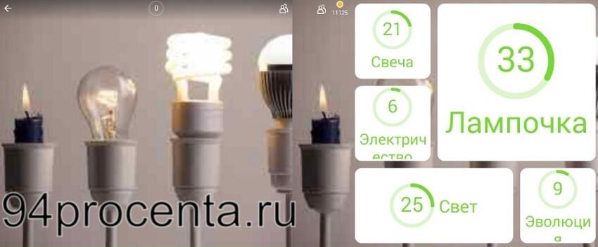 Лампочки картинка - 94 процента ответы к игре